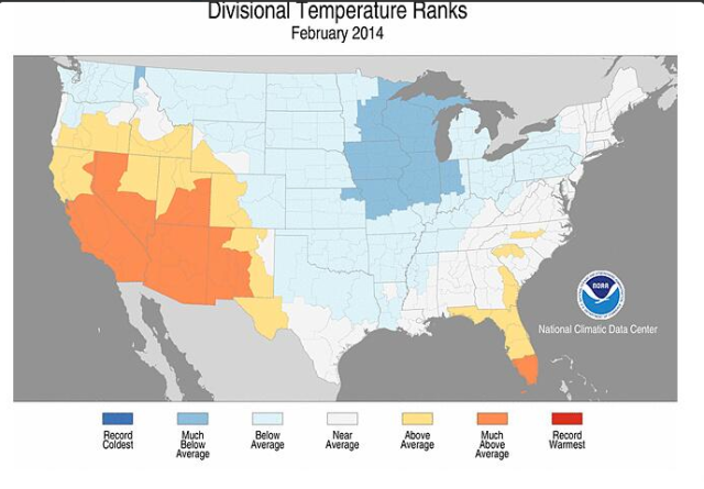 "NOAA's map of February temperatures across the United States got New England all wrong. It wasn't ""near normal,"" at all, as the people of the region can well attest. Oh, and the data, too: Hartford, CT, as an example was actually 5.1 degrees below normal."